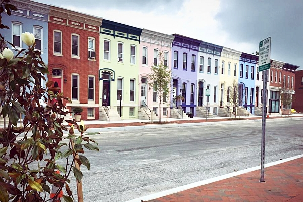 Charles Village Exchange looks on Pastel Row